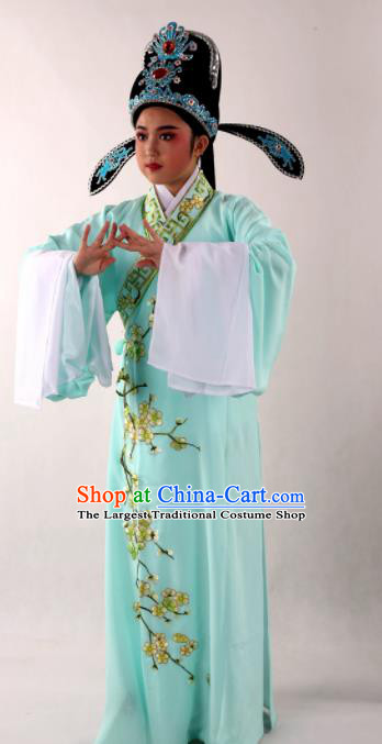 Traditional Chinese Shaoxing Opera Niche Costume Ancient Scholar Embroidered Plum Green Robe Clothing for Men