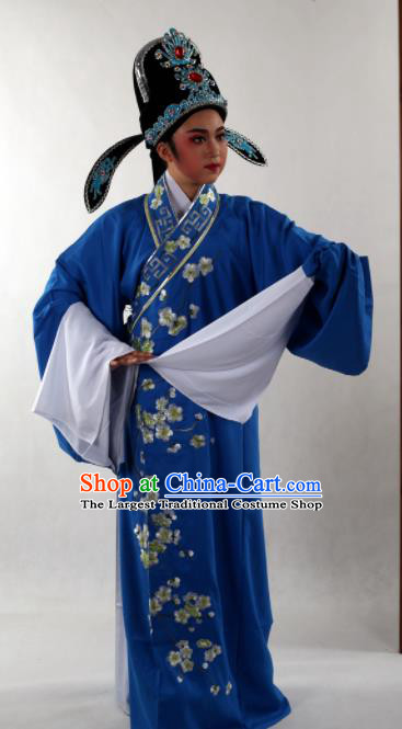 Traditional Chinese Shaoxing Opera Niche Costume Ancient Scholar Embroidered Plum Royalblue Robe Clothing for Men