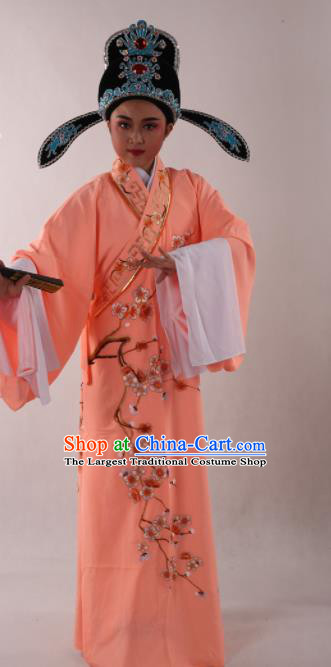Traditional Chinese Shaoxing Opera Niche Costume Ancient Scholar Embroidered Plum Orange Robe Clothing for Men