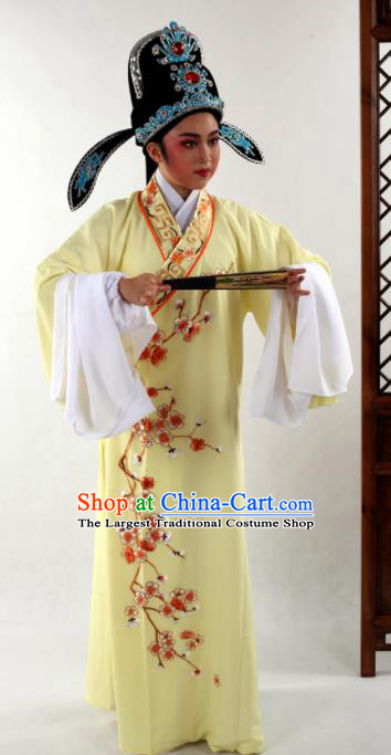 Traditional Chinese Shaoxing Opera Niche Costume Ancient Scholar Embroidered Plum Yellow Robe Clothing for Men