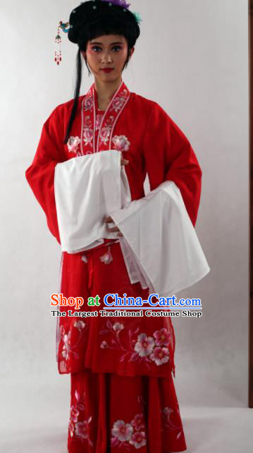 Traditional Chinese Shaoxing Opera Diva Red Dress Ancient Peking Opera Nobility Lady Costume for Women