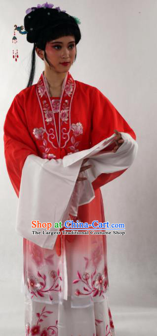 Traditional Chinese Shaoxing Opera Diva Red Silk Dress Ancient Peking Opera Nobility Lady Costume for Women