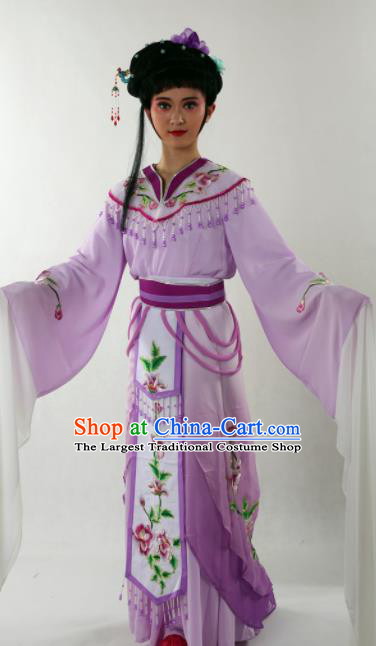 Traditional Chinese Shaoxing Opera Nobility Lady Purple Dress Ancient Peking Opera Diva Costume for Women