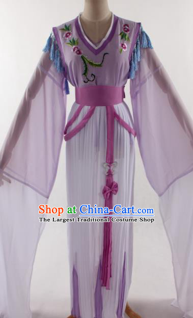 Traditional Chinese Shaoxing Opera Young Lady Purple Dress Ancient Peking Opera Diva Costume for Women