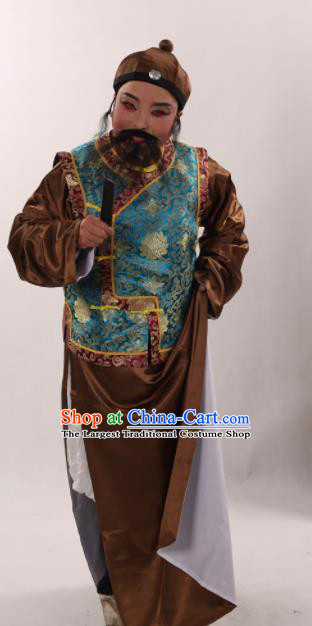 Traditional Chinese Shaoxing Opera Costume Ancient Qing Dynasty Long Gown and Blue Mandarin Jacket for Men
