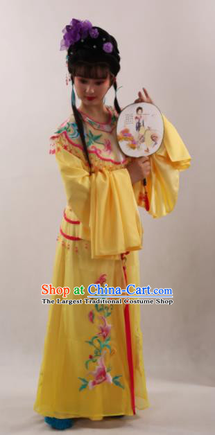 Traditional Chinese Peking Opera Diva Yellow Dress Ancient Goddess Princess Costume for Women