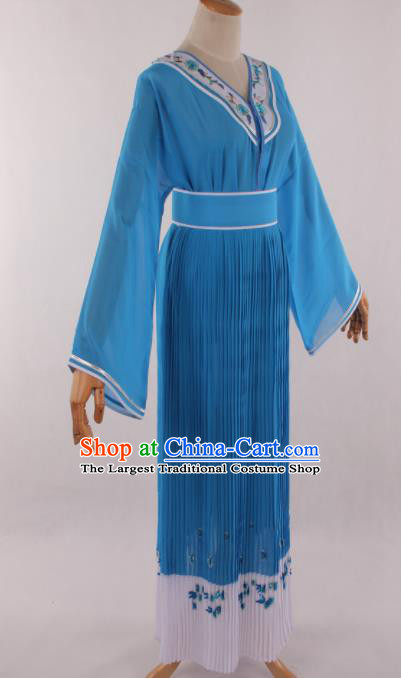 Traditional Chinese Shaoxing Opera Young Lady Blue Dress Ancient Peking Opera Diva Costume for Women