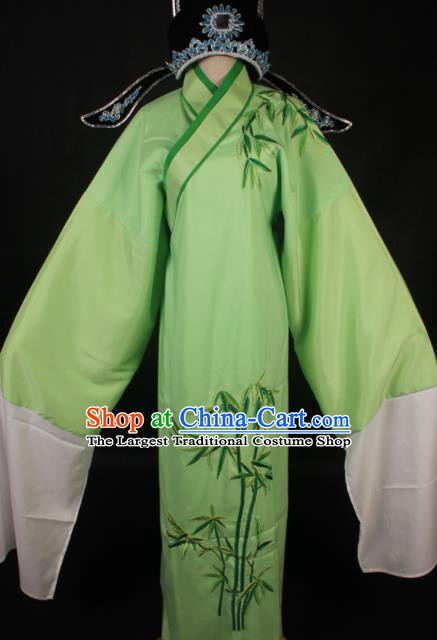 Traditional Chinese Shaoxing Opera Niche Green Robe Ancient Gifted Scholar Embroidered Costume for Men