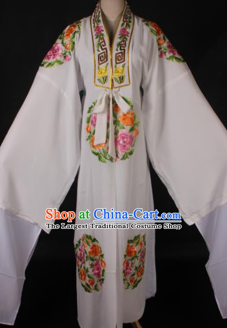 Traditional Chinese Shaoxing Opera Niche Embroidered White Gown Ancient Gifted Scholar Costume for Men