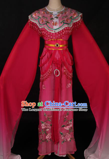 Traditional Chinese Shaoxing Opera Princess Rosy Dress Ancient Peking Opera Diva Fairy Costume for Women