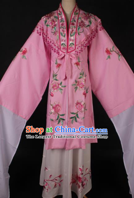 Traditional Chinese Shaoxing Opera Embroidered Pink Dress Ancient Peking Opera Diva Costume for Women