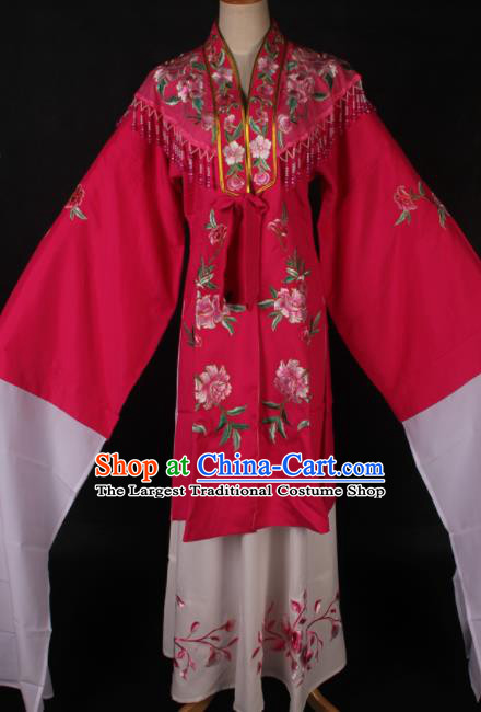 Traditional Chinese Shaoxing Opera Embroidered Rosy Dress Ancient Peking Opera Diva Costume for Women