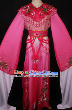 Traditional Chinese Shaoxing Opera Princess Embroidered Rosy Dress Ancient Peking Opera Diva Costume for Women
