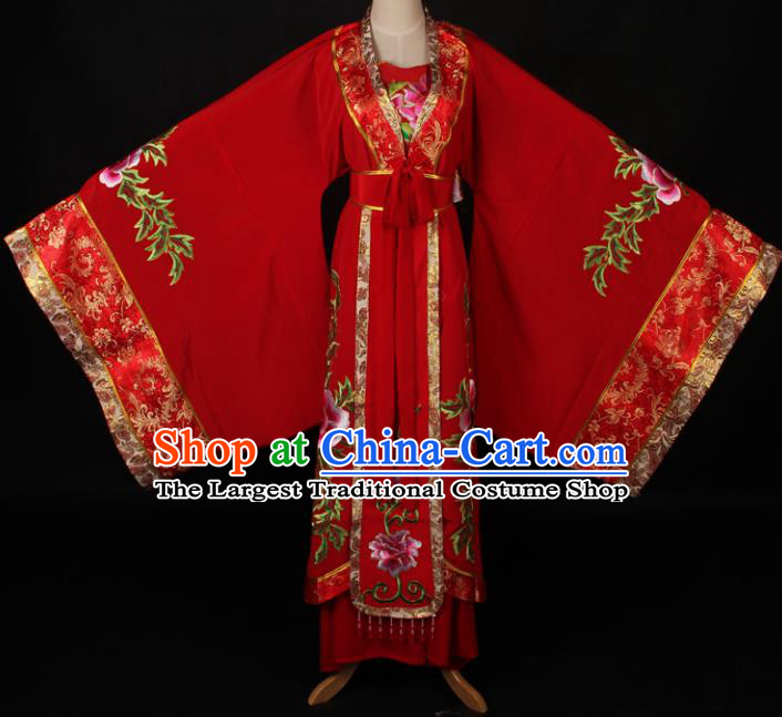 Traditional Chinese Shaoxing Opera Queen Embroidered Red Dress Ancient Peking Opera Diva Costume for Women