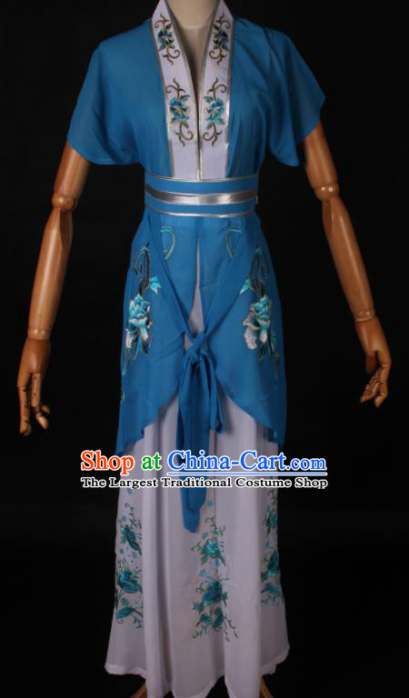 Traditional Chinese Shaoxing Opera Maidservant Blue Dress Ancient Peking Opera Poor Lady Costume for Women