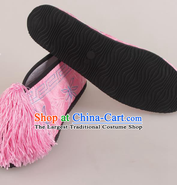 Traditional Chinese Beijing Opera Diva Pink Embroidered Shoes Handmade Ancient Princess Blood Stained Shoes for Women