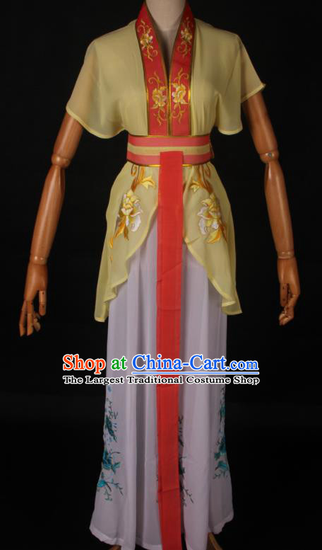 Traditional Chinese Shaoxing Opera Maidservant Yellow Dress Ancient Peking Opera Poor Lady Costume for Women