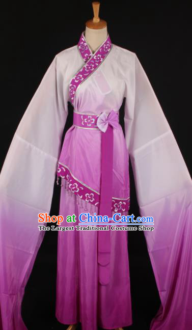 Chinese Traditional Shaoxing Opera Purple Dress Ancient Peking Opera Maidservant Xi Shi Costume for Women