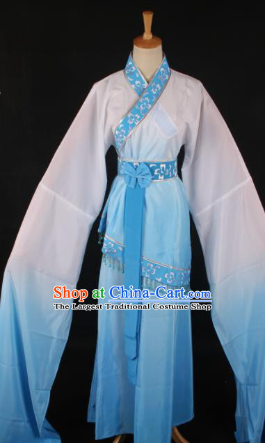 Chinese Traditional Shaoxing Opera Blue Dress Ancient Peking Opera Maidservant Xi Shi Costume for Women