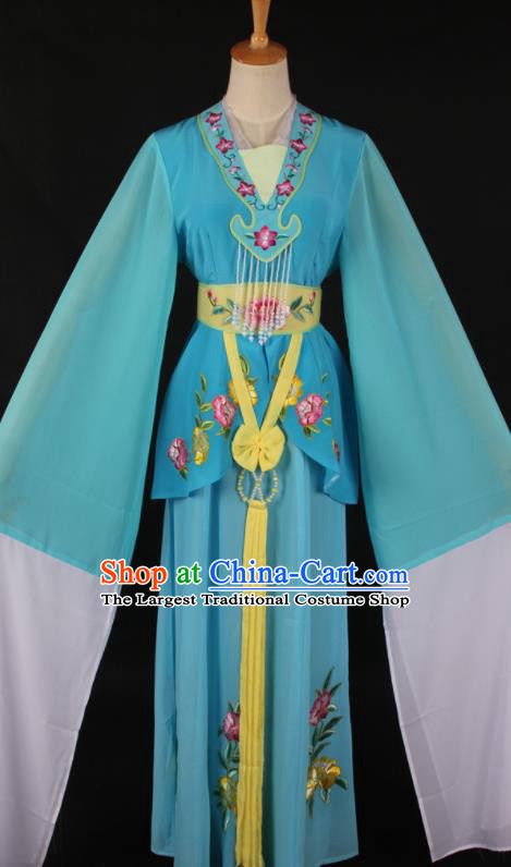 Chinese Traditional Shaoxing Opera A Dream in Red Mansions Blue Dress Ancient Peking Opera Maidservant Costume for Women