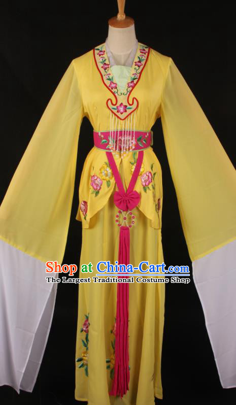 Chinese Traditional Shaoxing Opera A Dream in Red Mansions Yellow Dress Ancient Peking Opera Maidservant Costume for Women