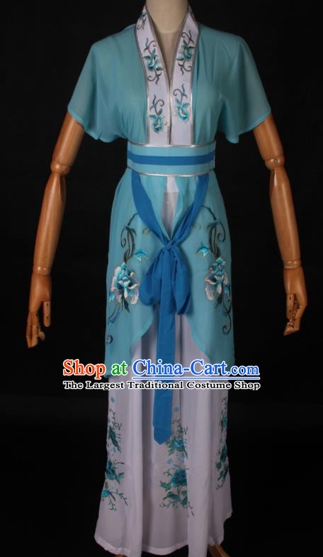 Traditional Chinese Shaoxing Opera Maidservant Light Blue Dress Ancient Peking Opera Poor Lady Costume for Women