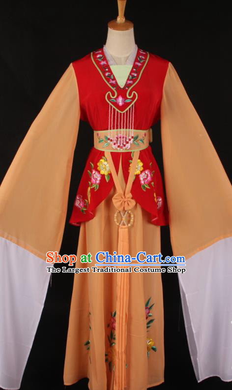 Chinese Traditional Shaoxing Opera A Dream in Red Mansions Orange Dress Ancient Peking Opera Maidservant Costume for Women