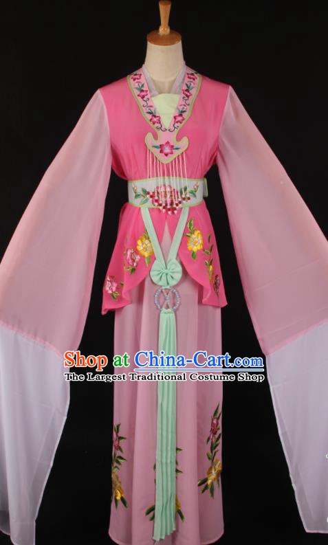 Chinese Traditional Shaoxing Opera A Dream in Red Mansions Pink Dress Ancient Peking Opera Maidservant Costume for Women