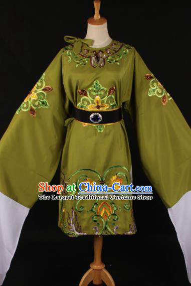 Chinese Traditional Shaoxing Opera Dowager Countess Olive Green Dress Ancient Peking Opera Costume for Women