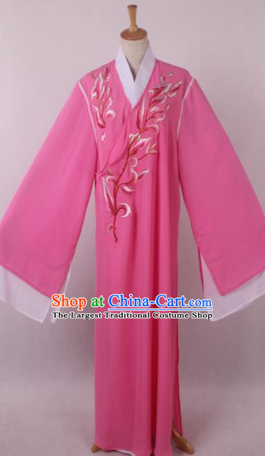 Traditional Chinese Shaoxing Opera Niche Liang Shanbo Rosy Robe Ancient Gifted Scholar Costume for Men