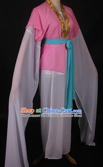 Traditional Chinese Shaoxing Opera Maidservants Pink Dress Ancient Peking Opera Village Girl Costume for Women