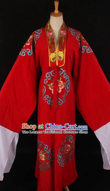 Traditional Chinese Shaoxing Opera Niche Red Gown Ancient Gifted Scholar Costume for Men