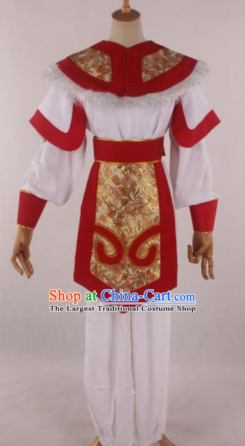 Traditional Chinese Shaoxing Opera Takefu Red Clothing Ancient Imperial Bodyguard Soldier Costume for Men