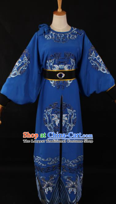 Traditional Chinese Shaoxing Opera Takefu Blue Clothing Ancient Imperial Bodyguard Costume for Men