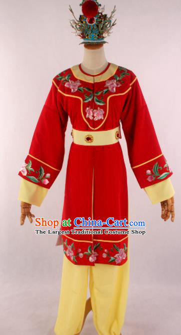 Traditional Chinese Shaoxing Opera Livehand Red Clothing Ancient Servant Costume for Men