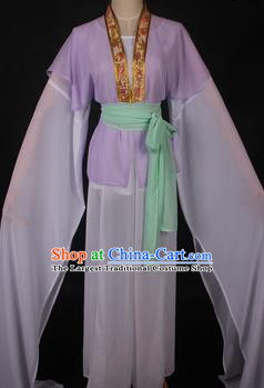 Traditional Chinese Shaoxing Opera Maidservants Lilac Dress Ancient Peking Opera Village Girl Costume for Women