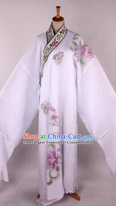 Traditional Chinese Shaoxing Opera Niche Printing White Robe Ancient Gifted Scholar Costume for Men