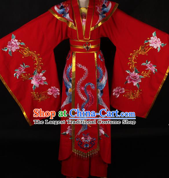Traditional Chinese Shaoxing Opera Diva Red Dress Ancient Peking Opera Queen Costume for Women