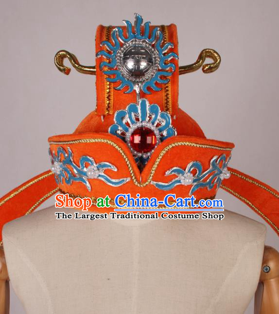 Traditional Chinese Shaoxing Opera Niche Orange Hat Ancient Scholar Helmet Headwear for Men