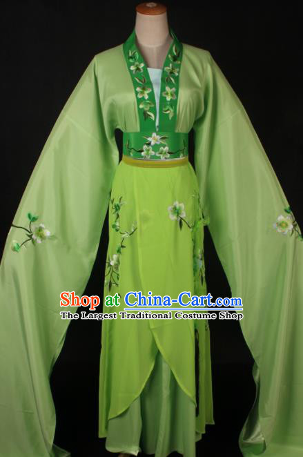Traditional Chinese Shaoxing Opera Actress Green Dress Ancient Peking Opera Rich Lady Costume for Women