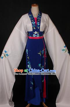 Traditional Chinese Shaoxing Opera Actress Royalblue Dress Ancient Peking Opera Rich Lady Costume for Women