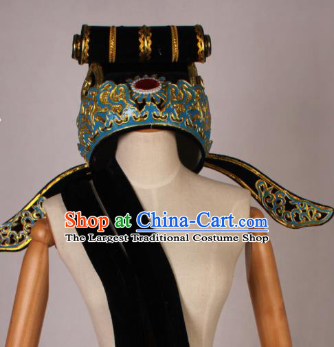 Traditional Chinese Shaoxing Opera Niche Black Hat Ancient Scholar Headwear for Men