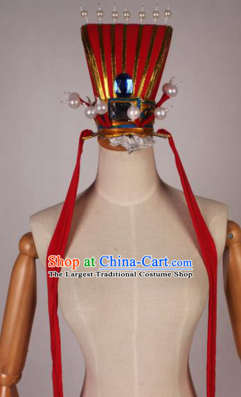 Traditional Chinese Shaoxing Opera Niche Red Hat Ancient Scholar Hairdo Crown Headwear for Men