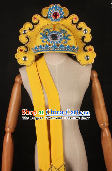 Traditional Chinese Shaoxing Opera Niche Yellow Hat Ancient Scholar Headwear for Men