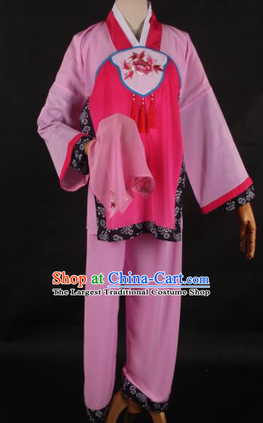 Traditional Chinese Shaoxing Opera Maidservants Pink Clothing Ancient Peking Opera Poor Lady Costume for Women
