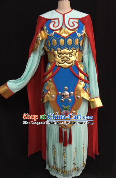 Traditional Chinese Shaoxing Opera Female General Green Clothing Ancient Peking Opera Blues Costume for Women