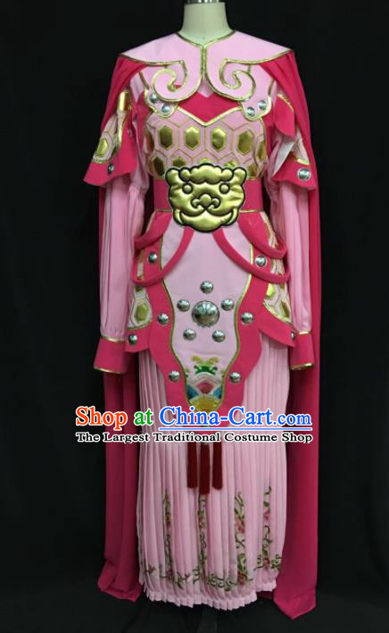 Traditional Chinese Shaoxing Opera Female General Pink Clothing Ancient Peking Opera Blues Costume for Women