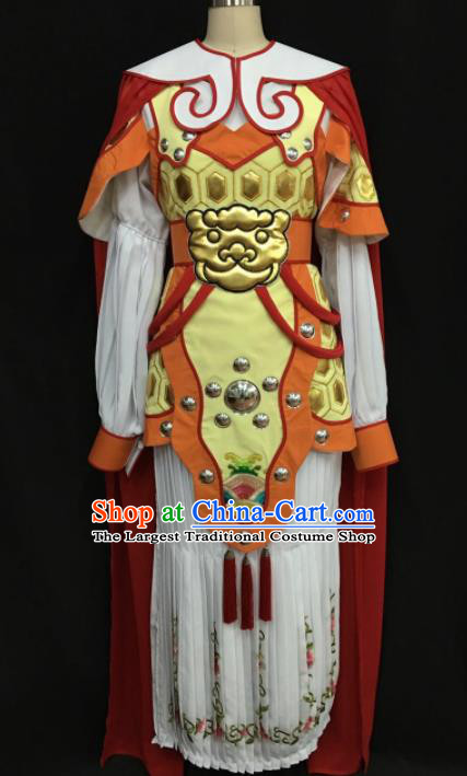 Traditional Chinese Shaoxing Opera Female General White Clothing Ancient Peking Opera Blues Costume for Women