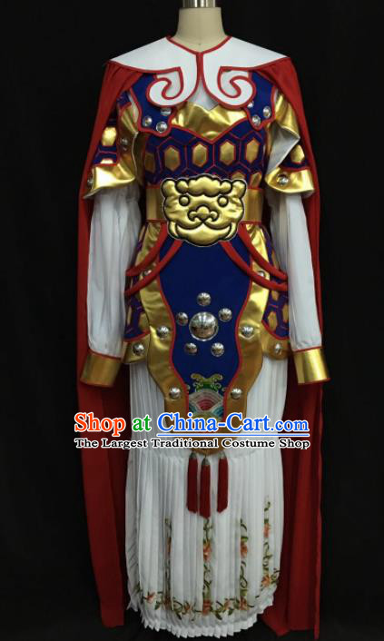 Traditional Chinese Shaoxing Opera Female General Royalblue Clothing Ancient Peking Opera Blues Costume for Women
