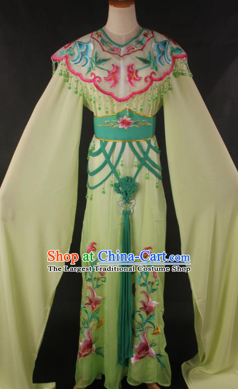Traditional Chinese Shaoxing Opera Peri Princess Green Dress Ancient Peking Opera Diva Costume for Women
